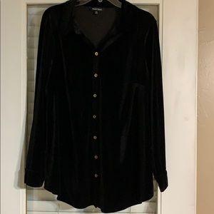 Velvet button up blouse